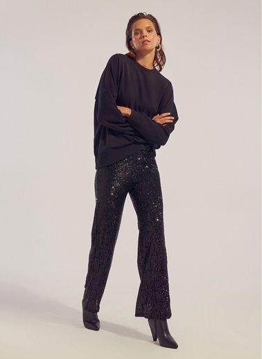 Monamoda Çizgi Payetli Bol Paça Pantolon Siyah